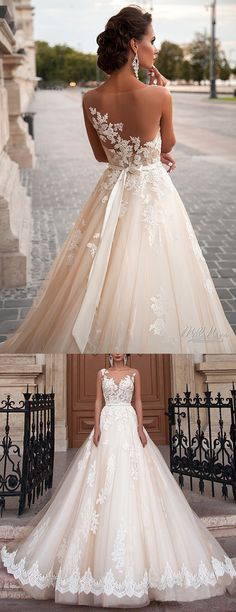 Exquisite appliqued lace, this is  special back design ,refuse the zipper and corset in the middle of its back. And  Champagne color, this is fashion trends in 2016