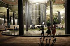 RAAD Studio's NYC underground Low Line park. Repurposes abandonded trolley terminal into sunlit subterranean public space on lower east side Manhattan. Manhattan, Park In New York, New York City, Nyc Underground, Underground Garden, U Bahn Station, Train Station, Williamsburg Bridge, Make Way