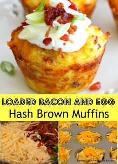 Loaded Bacon And Egg Hash Brown Muffins - These little breakfast muffins are a terrific option for feeding a group or even a busy school morning. They& a savory breakfast muffin, packed with shredded hash browns, crumbled bacon and eggs. Breakfast Casserole Muffins, Savory Muffins, Bacon Breakfast, Breakfast Items, Breakfast Dishes, Breakfast Recipes, Group Breakfast, Breakfast Cookies, Egg Muffin Breakfast