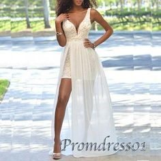Unique long prom dress with slit, 2016 white lace senior prom dress #coniefox #2016prom