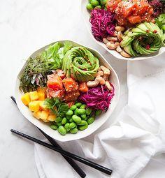Avocado, Bohnen, gesund, Gemüse, Poke Bowl, Mango, Lachs, Erdnüsse, Kochhaus