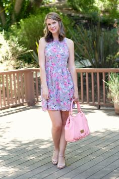 Floral sundress, nude wedges and pink handbag #RebeccaTaylor #MarcbyMarcJacobs