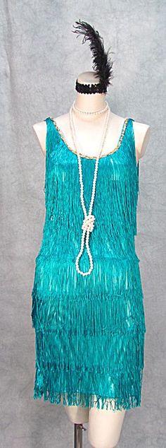 1920s FRINGED FLAPPER DRESS GATSBY PLUS SIZES TURQUOISE