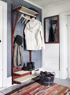 Lest you are living under the false supposition that lacking a legitimate coat closet precludes you from creating a semblance of entryway organization, well, think again my friends. Coat Closet Organization, Entryway Organization, Coat And Shoe Rack, Shoe Racks, Closet Alternatives, No Closet Solutions, Closet Remodel, Master Bedroom Closet, Small Closets
