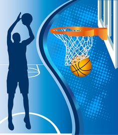 Basketball hoop and basketball silhouette on blue background.