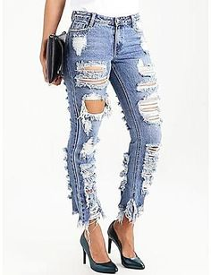 Auied Women Plus Size Ripped Stretch Slim Denim Skinny Jeans Pants High Waist Trouserslarge Size Womens Hole-Breaking Stretch Jeans