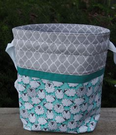 Sheep Flock Drawstring Knitting Project Bag/ by PrairieBagStudio