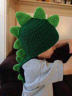 crochet dinosaur hats dinosaur crochet hat with long tail 3 years adult sizes made to - PIPicStats Dragon En Crochet, Crochet Dinosaur Hat, Crochet Kids Hats, Crochet Beanie, Cute Crochet, Crochet Crafts, Crochet Hooks, Knit Crochet, Crochet Children