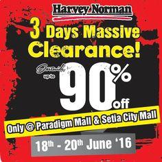 18-20 Jun 2016: Harvey Norman 3 Days Massive Clearance