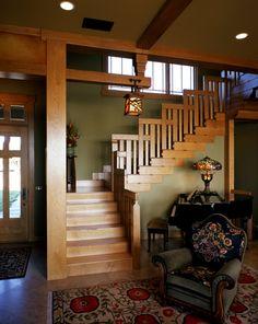 Elegant Craftsman Style Interiors to Give Warmth and Strength: Amazing Craftsman Style Interiors Design Corner Staircase Floral Sofa ~ stepinit.com Interior