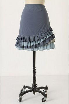 This Anthropologie Knock Off Ruffled Skirt is going to turn heads when you make it. It is a cheap sewing project, too!