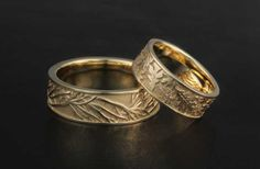 Tree of Life and Oak Leaf Wedding Bands in yellow gold.