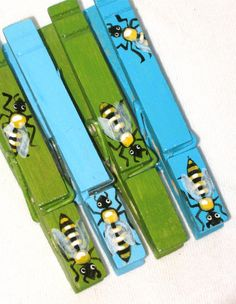 HONEY BEES hand painted  clothespin magnets blue by SugarAndPaint, $10.00