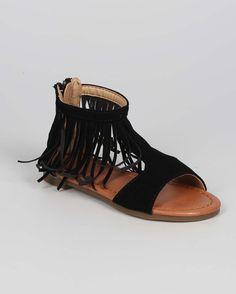 New-Girl-Jelly-Beans-Right-Nubuck-Open-Toe-Fringe-Collar-Gladiator-Sandal-Sz-9-4