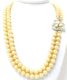 Vintage Glass Faux Pearl Double Strand Necklace Rhinestone Fancy Clasp - ET138. $28.00, via Etsy.