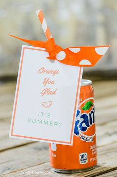 Printable Tag | Makes a great end of the year teacher gift or friend gift!  | Put together a package of orange items, tie it with this cute tag, and you've got a darling summer gift for your kids, teachers, and more!