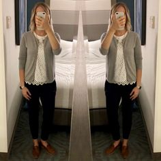 outfit post: grey cardigan, lace shell, navy ankle pants, brown loafers http://outfitposts.com/2018/02/outfit-post-grey-cardigan-lace-shell-navy-ankle-pants-brown-loafers.html?utm_campaign=coschedule&utm_source=pinterest&utm_medium=Outfit%20Posts&utm_content=outfit%20post%3A%20grey%20cardigan%2C%20lace%20shell%2C%20navy%20ankle%20pants%2C%20brown%20loafers