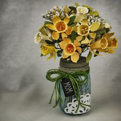 Make a Paper Daffodil Bouquet and Mason Jar Vase — Saved By Love ...