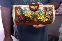 Wallet / Women / Clutch / Leather / Hand Carved and Tooled / Flowers, and Butterfly / Hand Made / Custom / Woman / Checkbook / Hand Crafted