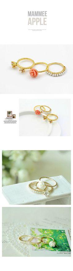 Victorian Gold Color Flower Three-Piece Unique Design Ring Alloy Korean Rings,Korean Rings