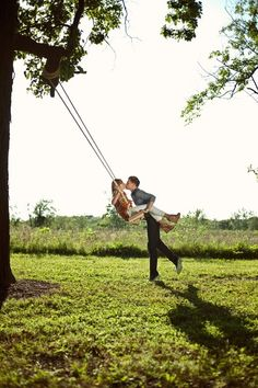 Engagement photo shoot on the swing