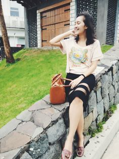 Fashion Blogger // Wearing: Kenzo shirt, sheer skirt, and my fav bag