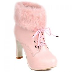 Graceful Faux Fur and Lace-Up Design Women's Short Boots