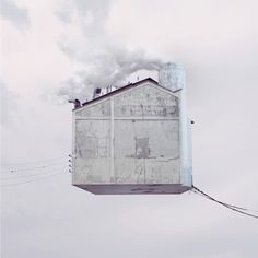 "In his series titled ""Flying Houses,"" Laurent Chehere manipulates images by placing ordinary homes and buildings high into the sky. Inspired by the forgotten homes of the Belleville and Menilmontant neighborhoods in Paris, Chehere brilliantly highlights the unsung beauty and details of the architecture"