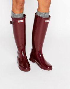Image 1 ofHunter Original Refined Gloss Dulse Tall Wellington Boots