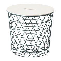 IKEA - KVISTBRO, Oppbevaringsbord, turkis, , Du kan ha alt fra pledd og puter til aviser og garn i kurven – eller la den være tom for å gi en åpen romfølelse.Et håndtak i bordplata gjør det enkelt å åpne bordet og få tak i tingene som oppbevares i kurven.Den luftige designen gjør bordet lett å løfte og flytte, for eksempel fra sofaen til godstolen.Passer som f.eks. kaffebord, sidebord eller nattbord.