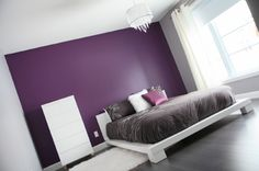 purple accent wall bedroom - Google Search
