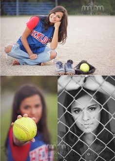 Softball poses, like the ripped jeans and uniform top