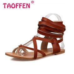 official photos 44aa1 80e75 Aliexpress.com  Comprar TAOFFEN tamaño 30 50 Mujer Zapatos diseño clásico  gladiador sandalias mujeres zapatos planos Bohemia de encaje Sandalias Mujer  ...