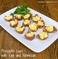 Prosciutto Cups with Egg and Parmesan - low carb brunch party food!