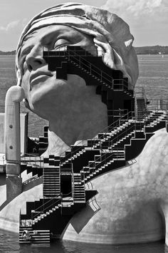 Floating Opera Stage with staircase Bregenz Opera Festival, Austria
