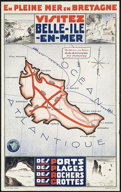Vintage Travel Poster - Visitez Belle-Ile-En Mer -  Bretagne