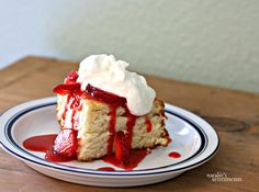 Perfect strawberry shortcake with strawberry sauce and vanilla whipped cream