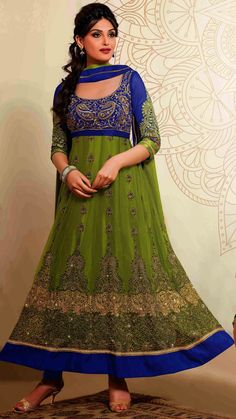 USD 54.11 Green Net Ankle Length Anarkali Suit 44417