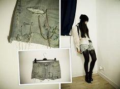 DIY Shredded & chained jean-shorts