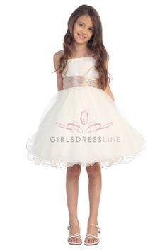 Taupe accented waistband Mini tulle flower girl dress G3018-TU $49.95 on www.GirlsDressLine.Com sizes up to 16. Taupe sash shown.