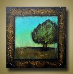 Modern Tree Painting  Teal Background  Framed Art by BrittsFineArt