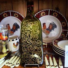 Handpainted, gold, wine bottle plate. www.wineyesplease.com
