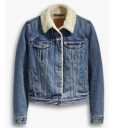 the cozier counterpart to our original trucker jacket. Levi's® iconic, instantly recognizable jean jacket has been a symbol of individual self-expression for deca. Sherpa Lined Denim Jacket, Lined Jeans, Boucle Jacket, Levis Jean Jacket, Jean Jacket Outfits, Denim Outfit, Blue Jean Jacket, Grunge Jacket, Jackets For Women