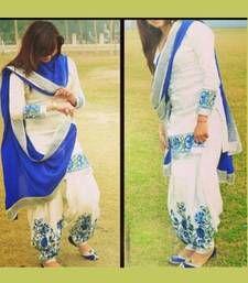 Buy VandV White And Blue Combination Attractive Patiyala Suit patiala-salwar online