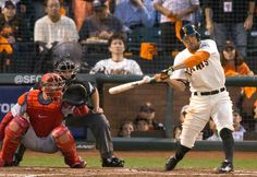 San Francisco Giants' Hunter Pence connects for an RBI single in the third inning of Game 4 of the National League baseball championship series against the St. Louis Cardinals at AT&T Park in San Francisco, Calif., on Wednesday, Oct. 15, 2014. (D. Ross Cameron/Bay Area News Group)