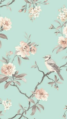 FINE DECOR Chinoiserie Floral Wallpaper Duck Egg. Shop similar designs at ilovewallpaper.co.uk #ilovewallpaper #Home #Butterfly #Birds #Wallpaper