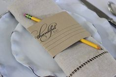 What are you thankful for this year? This thankful napkin wrap is a great way to kick off your Thanksgiving dinner.