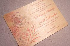 Real Wood Wedding Invitation  Boho Botanical by woodchickstudios, $10.00