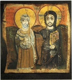 Jesus and Abba Menas. Coptic. 5/6th century. One of the earliest icons of Jesus.