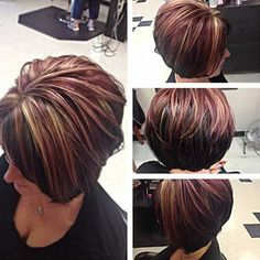 Hair highlights and lowlights popular haircuts trendy ideas Brown Hair With Blonde Highlights, Hair Color Highlights, Red Blonde, Chunky Highlights, Caramel Highlights, Short Blonde, Hair Color And Cut, Haircut And Color, Short Hair Cuts For Women